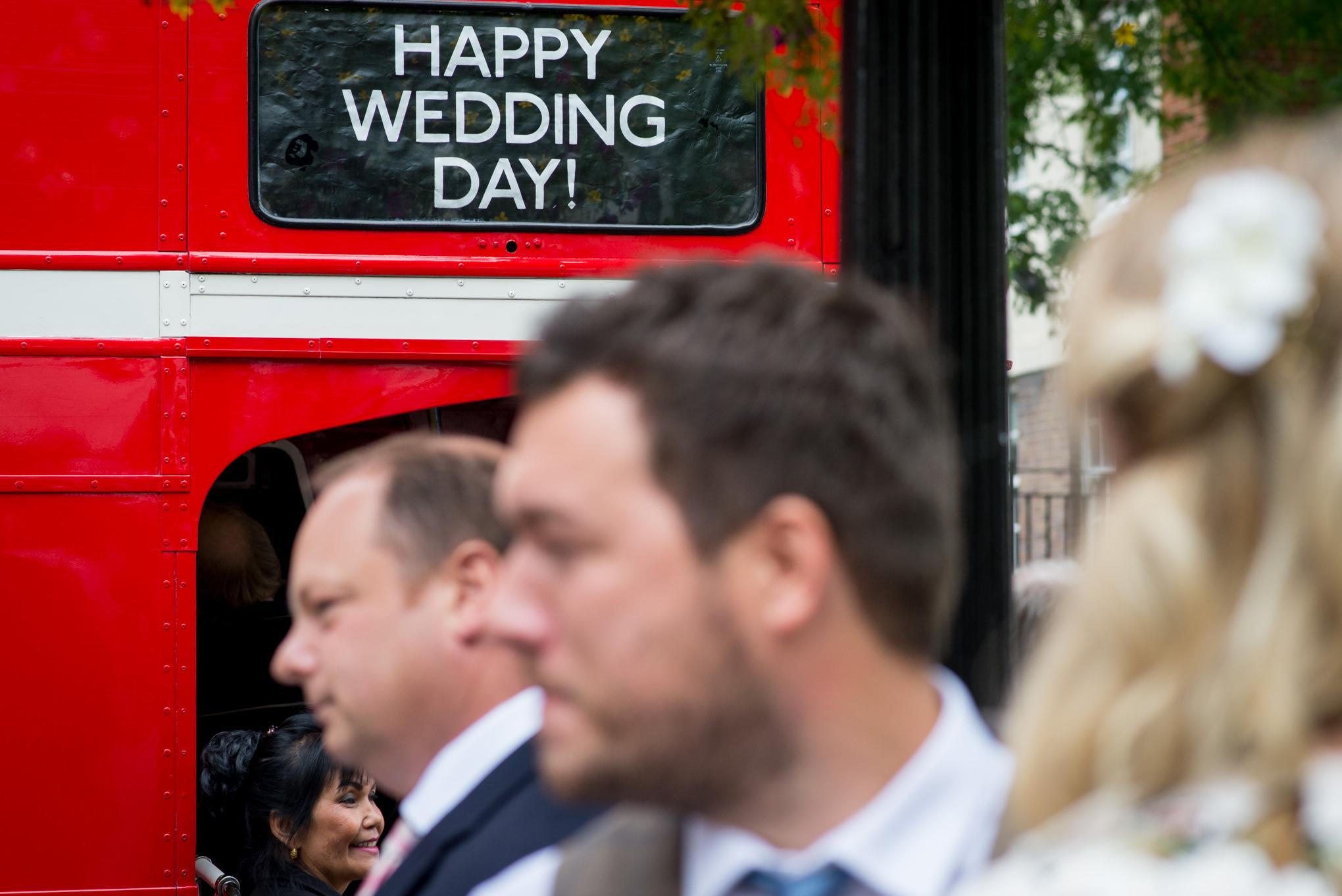 Islington Town Hall Wedding kids in vintage bus