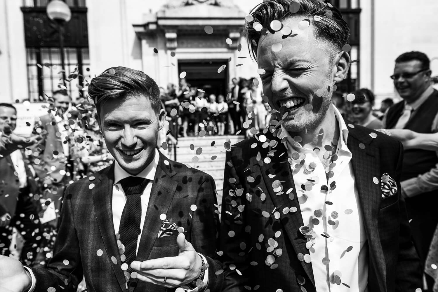 Carine Bea Photography, same sex wedding at islington town hall confetti