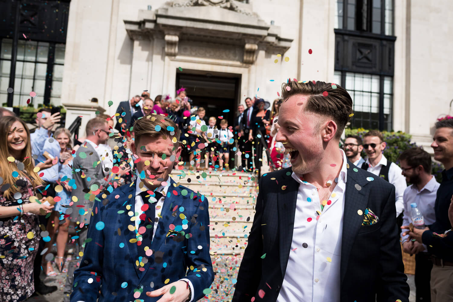 same sex wedding at islington town hall confetti, Carine Bea Photography