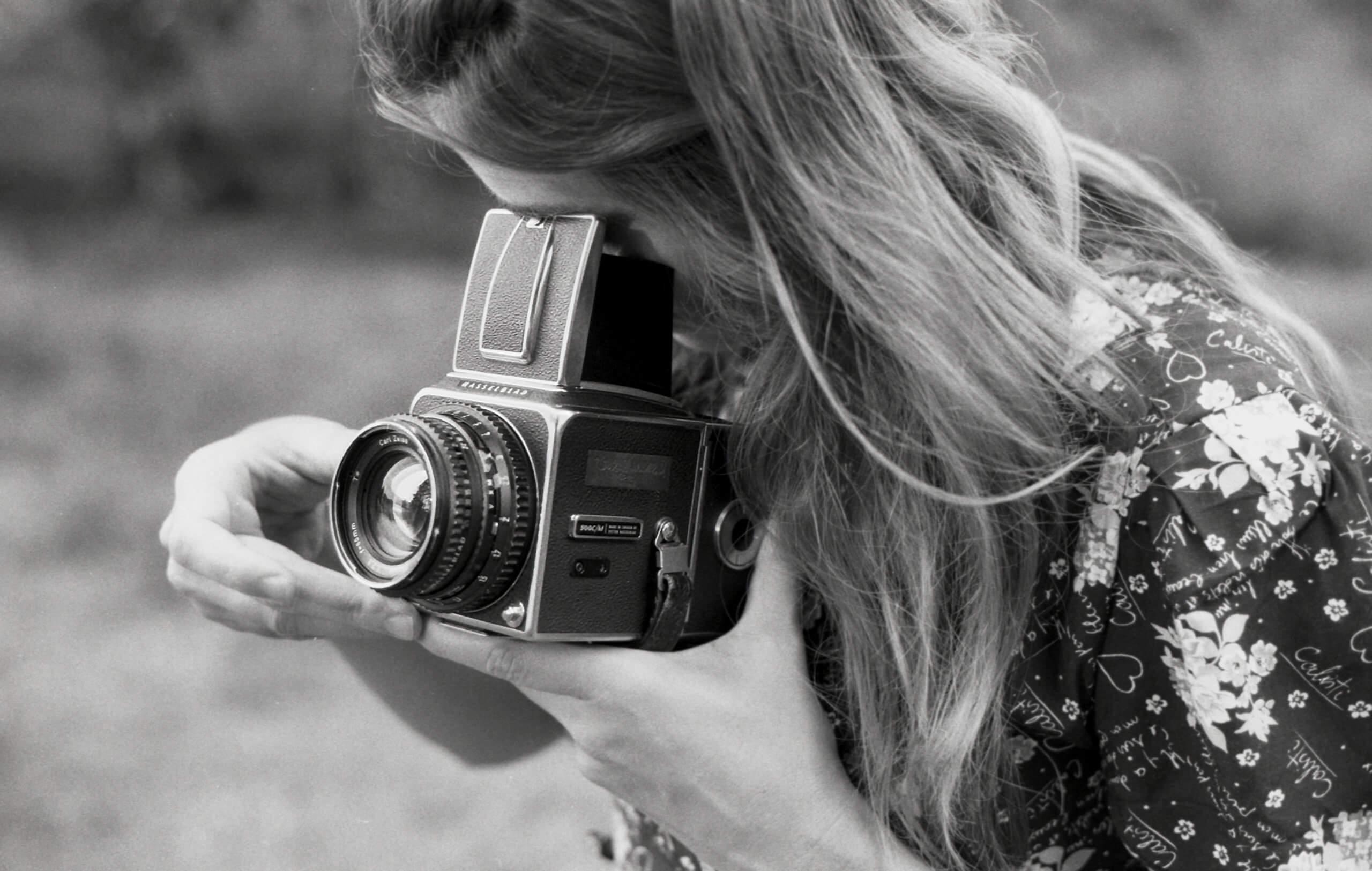 Analog hasselblad camera, black white photo