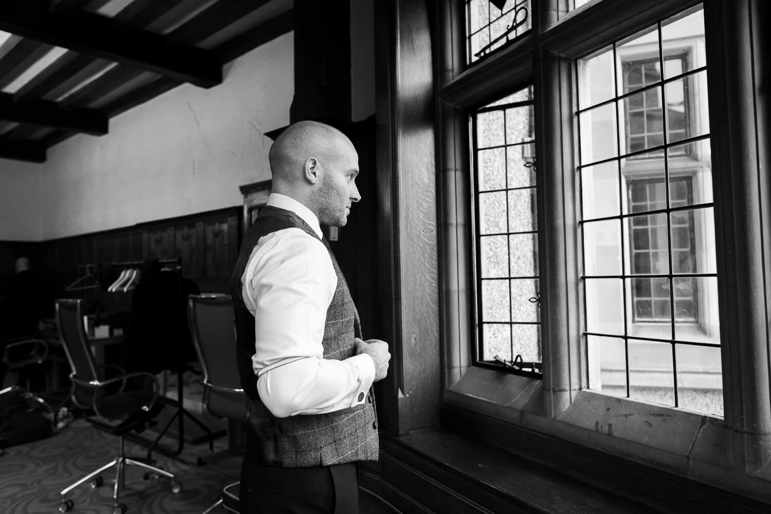 Fanhams Hall Wedding groom preparations
