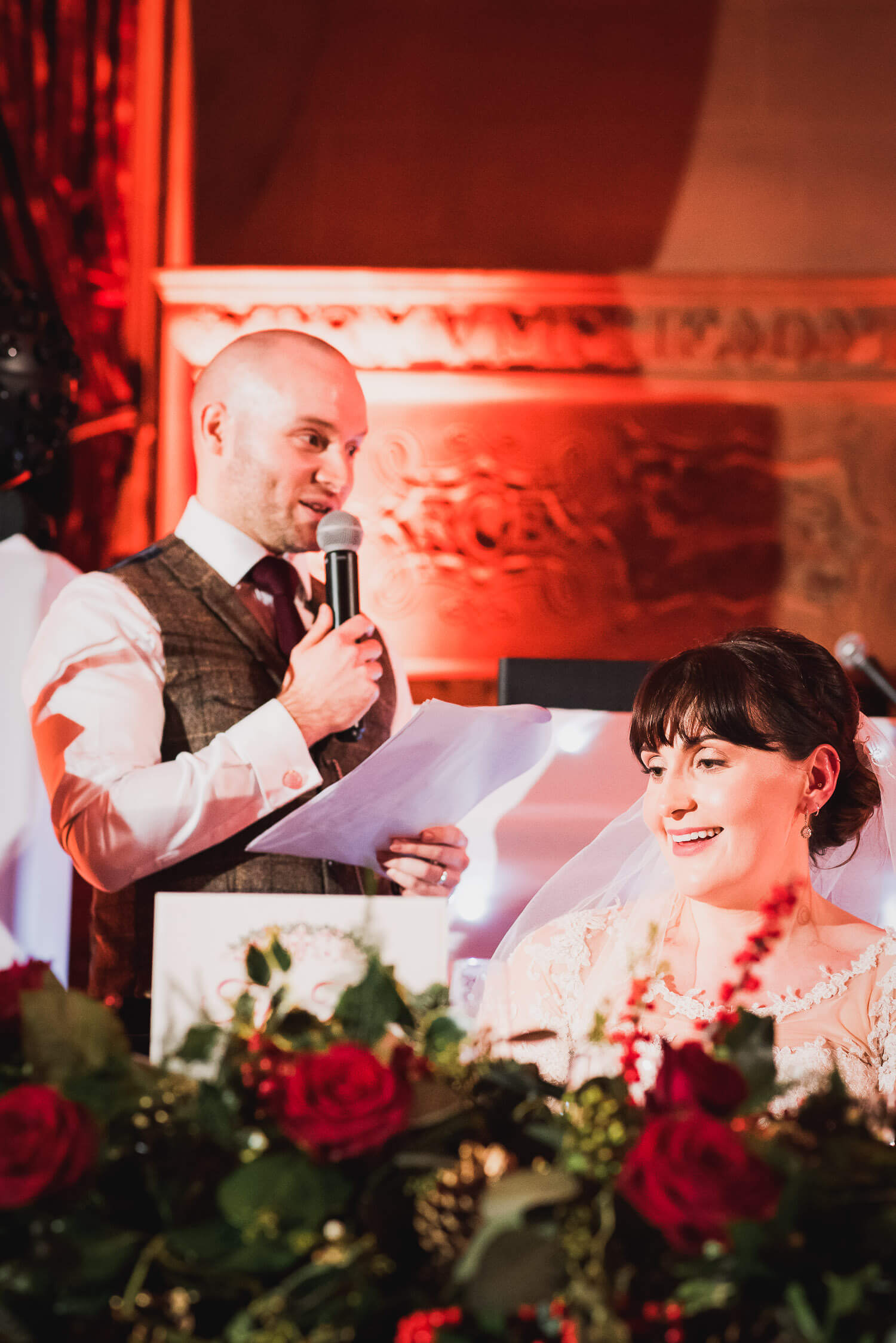 Fanhams Hall Wedding groom speeches, Carine Bea Photography