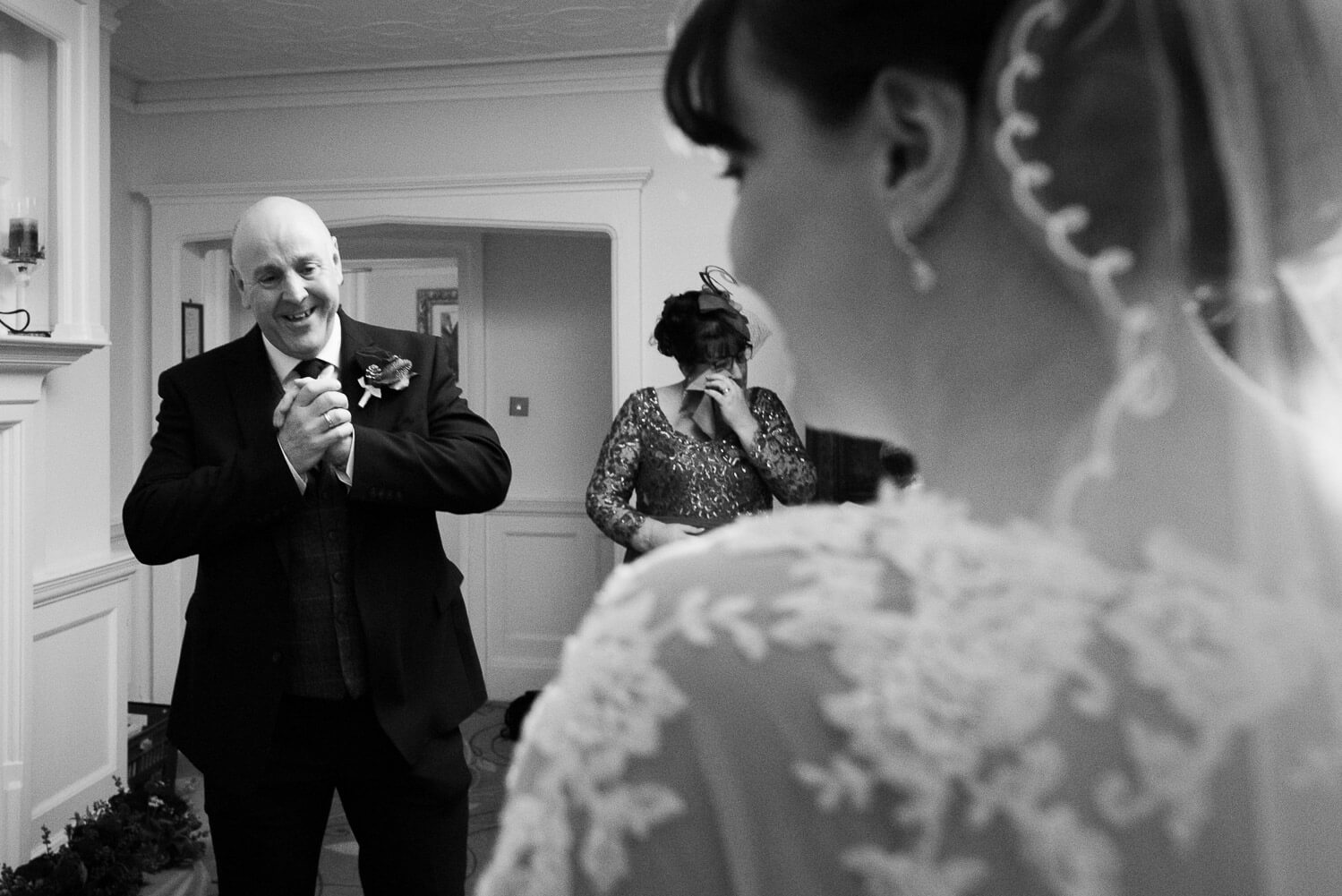 Fanhams Hall Wedding, father of the bride first look