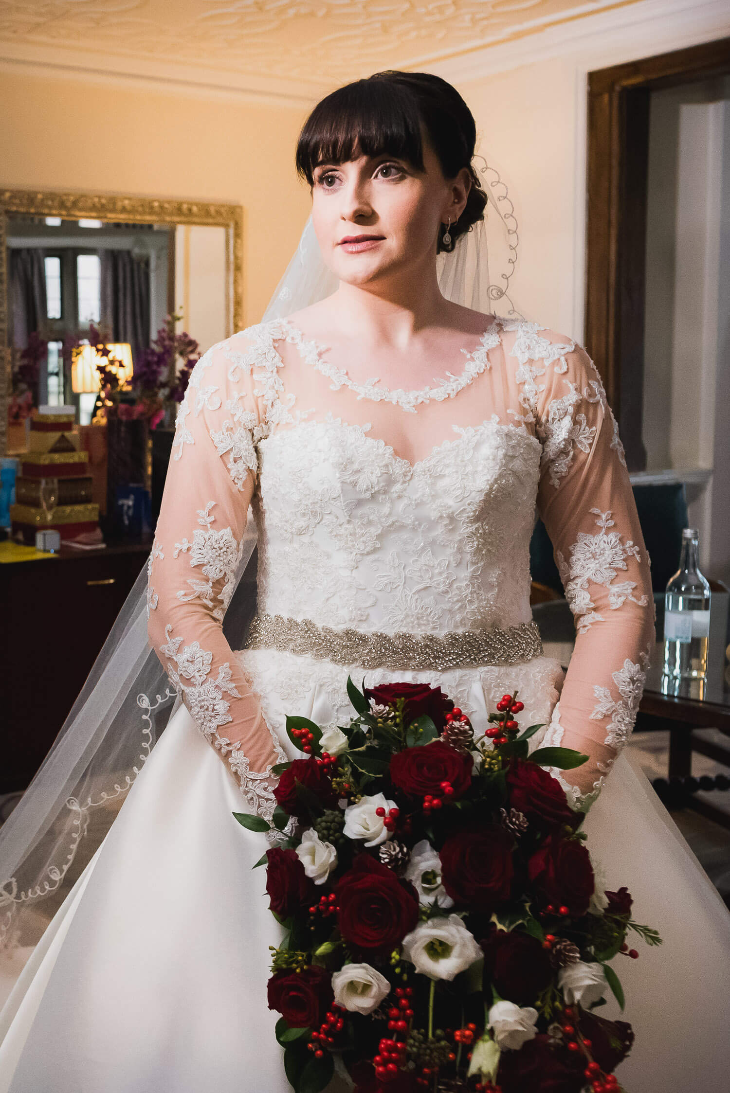 Fanhams Hall Wedding, bride portrait