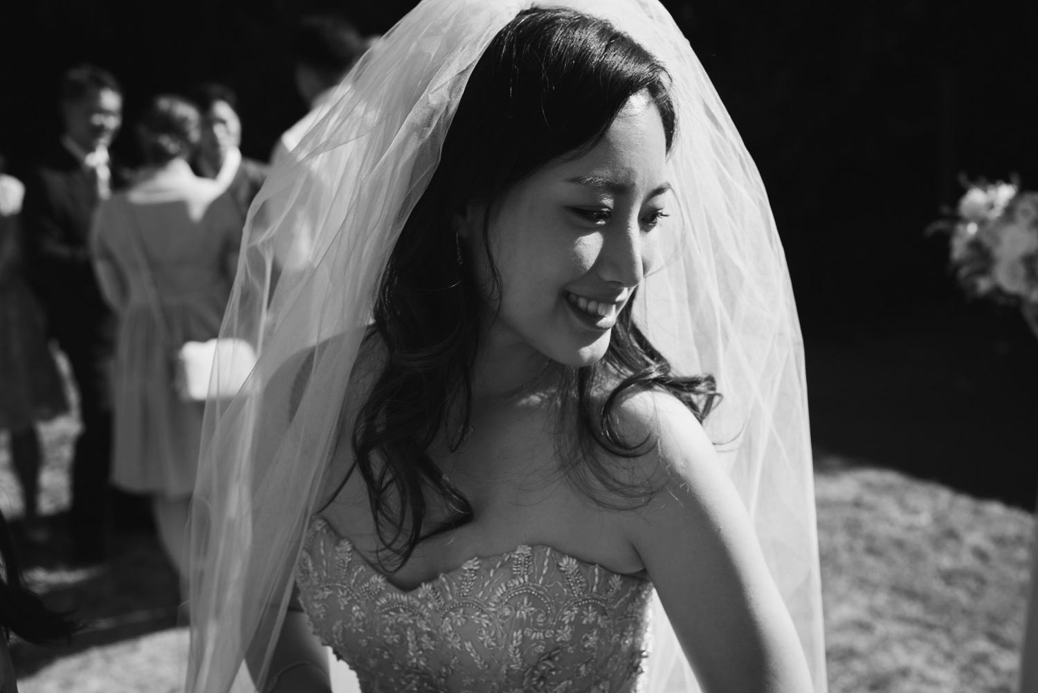 black & white bride portrait, Carine Bea Photography
