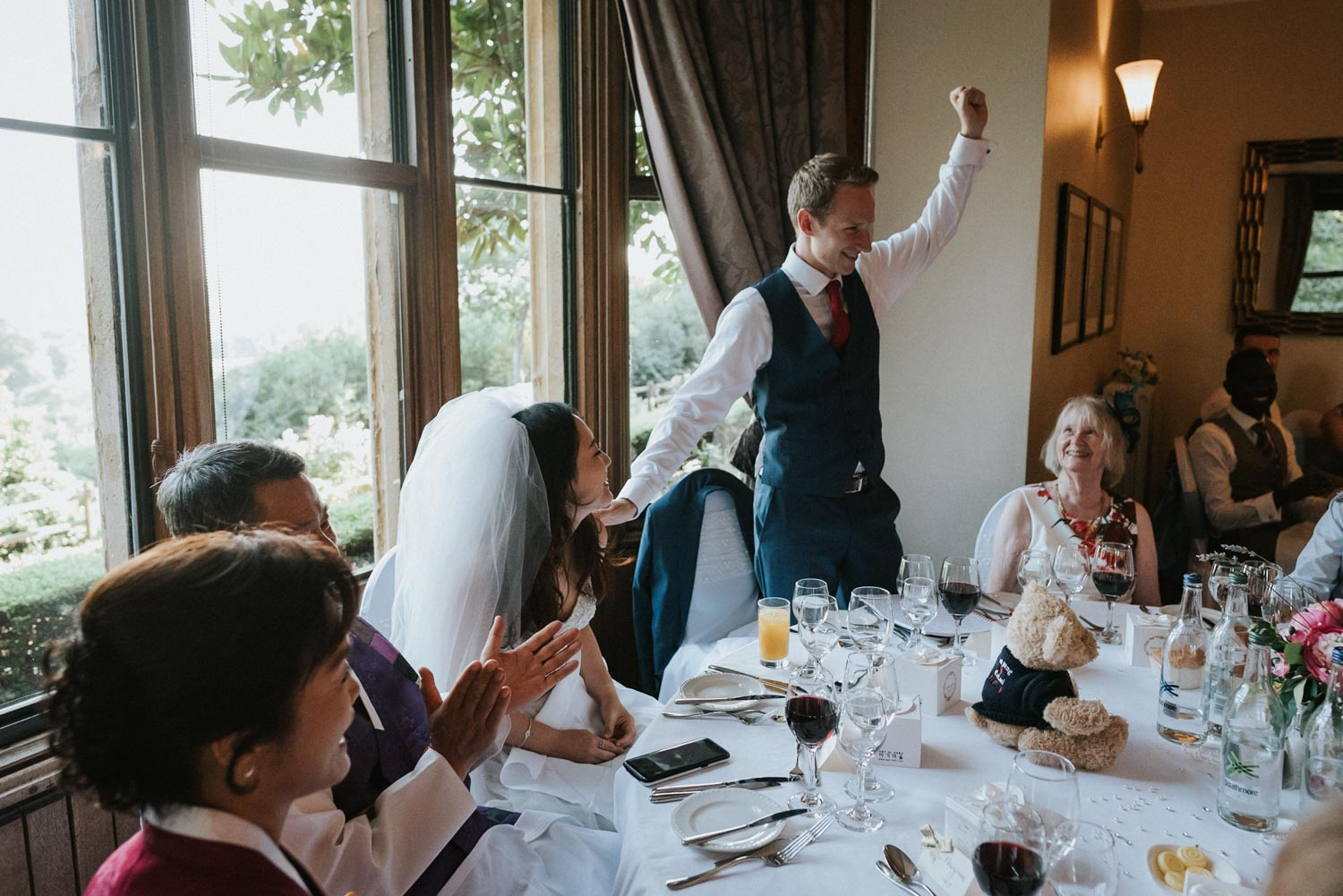 Nutfield Priory Wedding toast, Carine Bea Photography