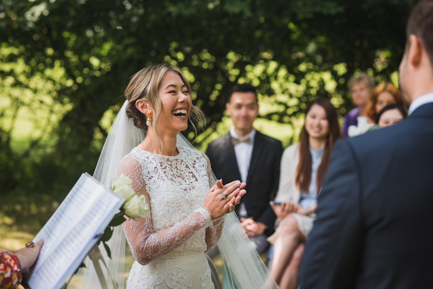Outdoor wedding- happy, covid-tips, Carine Bea Photography bride