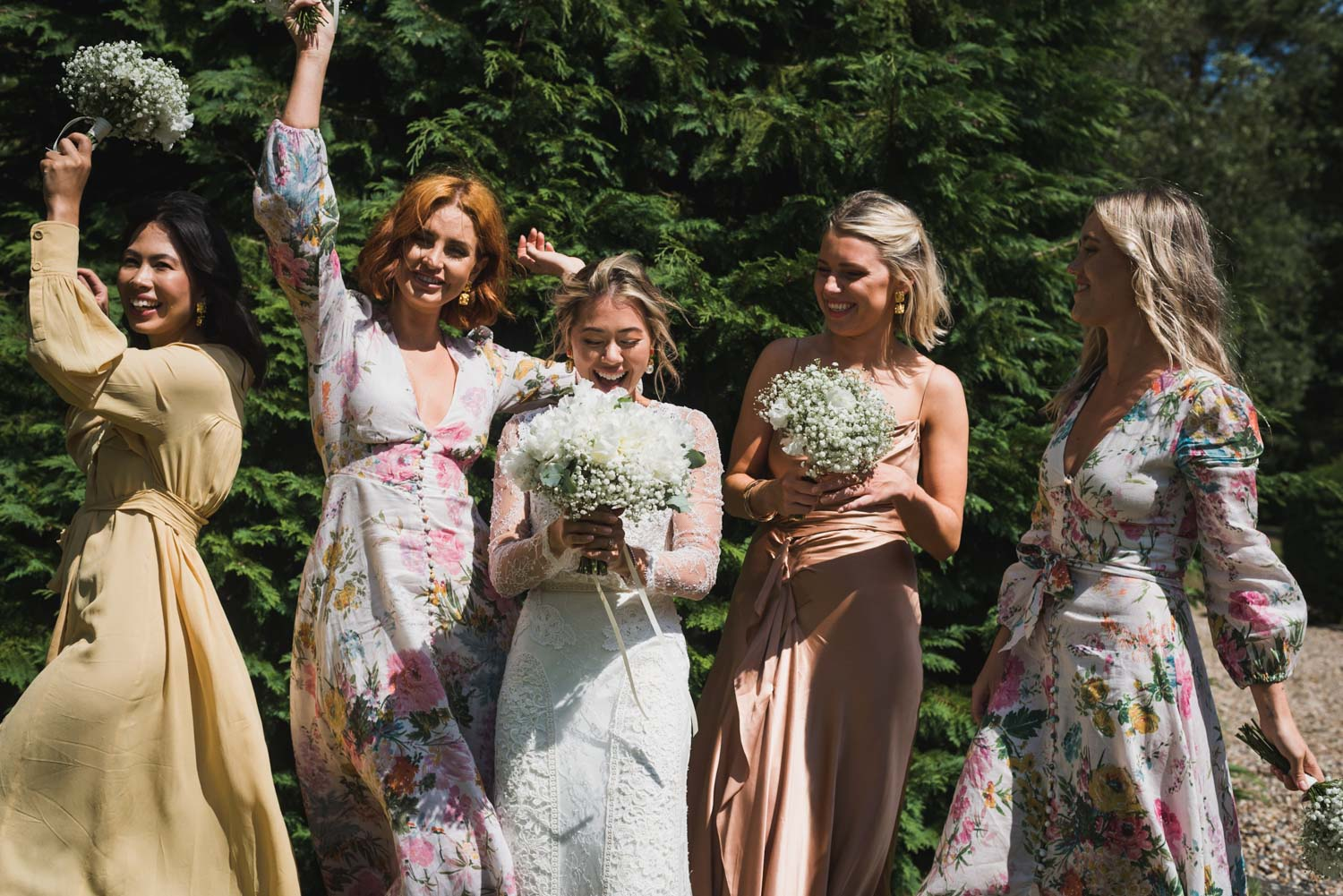 Bridesmaid at garden wedding, Carine Bea Photography