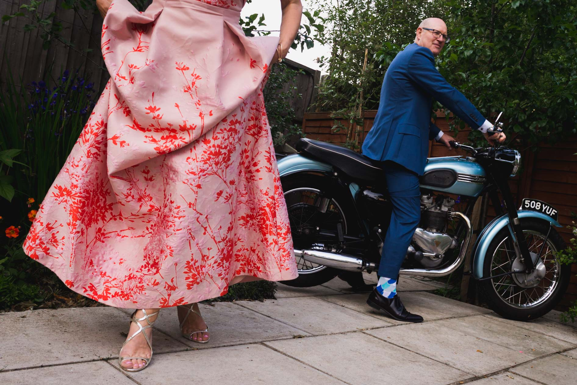 carine bea photography, harvey nichols floral wedding dress
