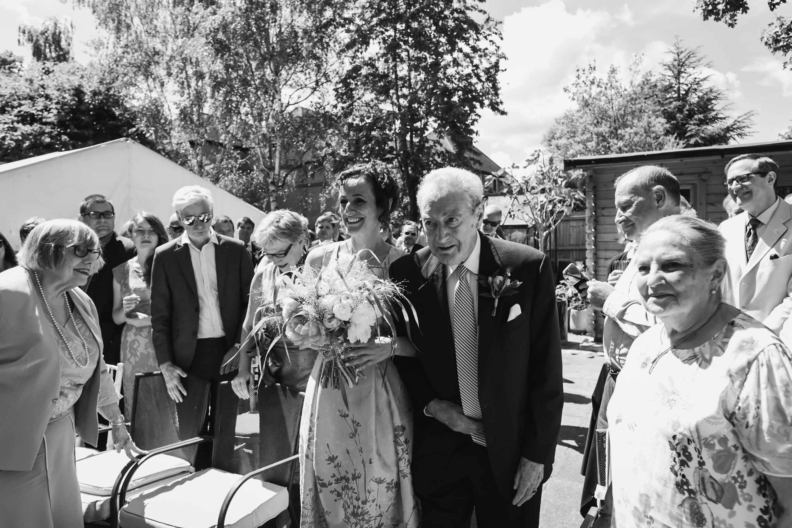 Carine Bea Photography, father of the bride at back garden wedding