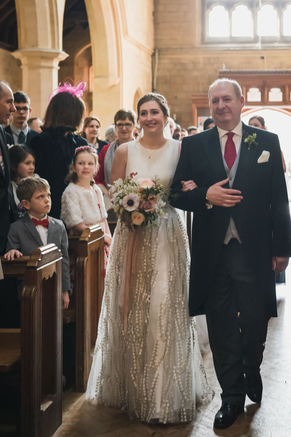 carine bea photography, bride walking in the aisle, church wedding