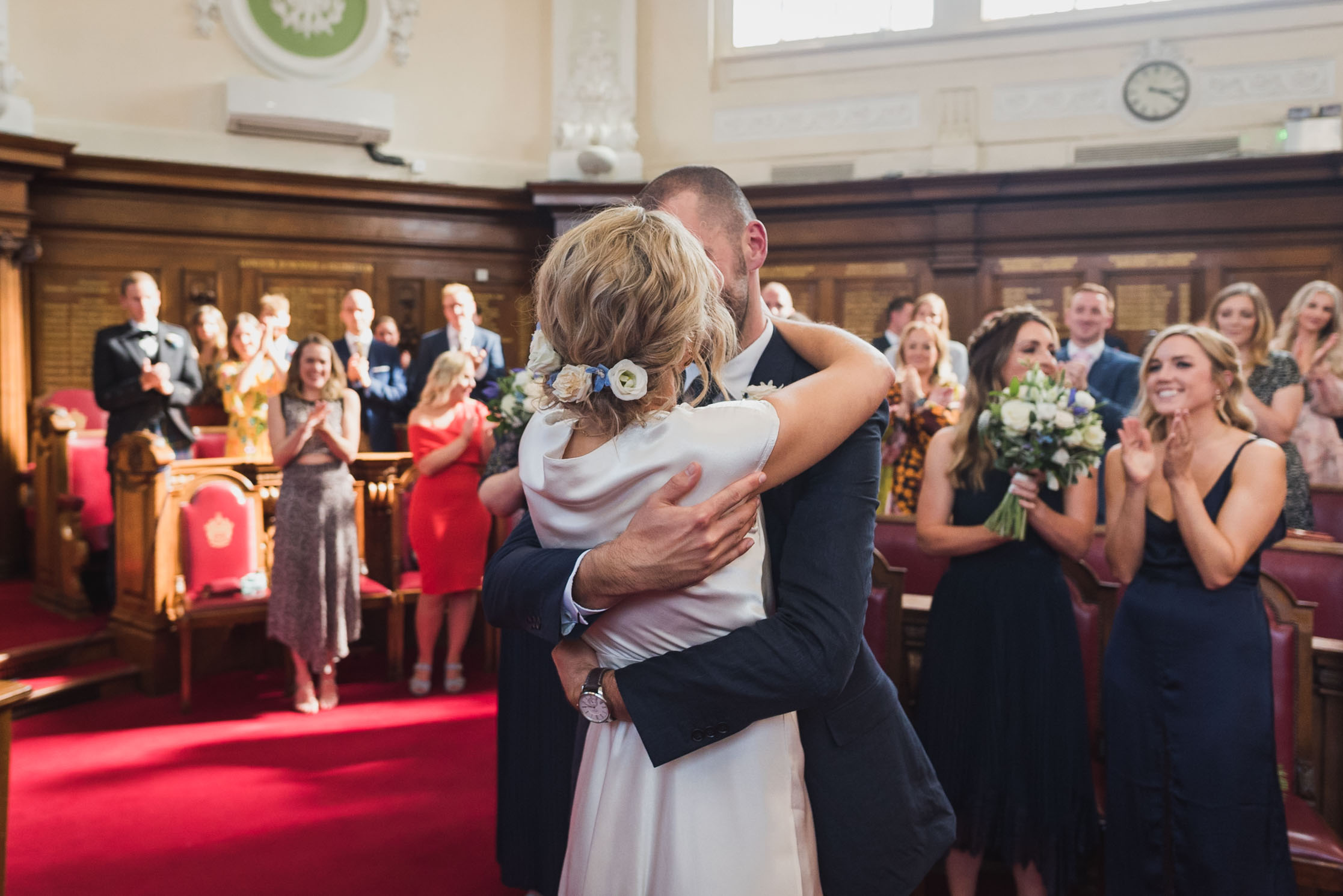carine bea photography, islington hall wedding, first kiss