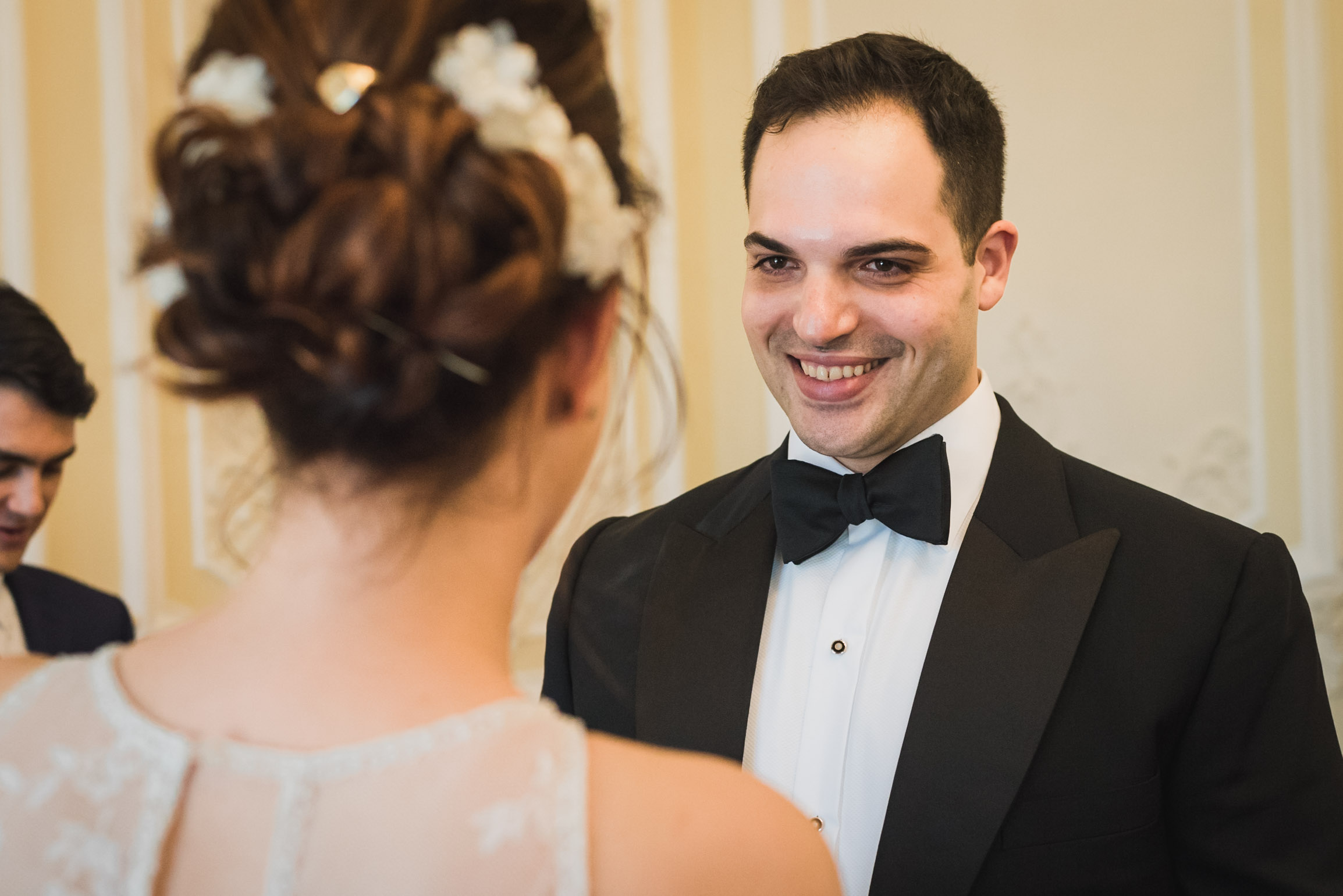 carine bea photography, groom smile wedding ceremony at carlton house terrace london